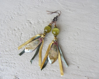 Earrings ethnic drop pendant made of enameled copper, glass bead and Ribbon satin, green, Khaki, beige and golden yellow
