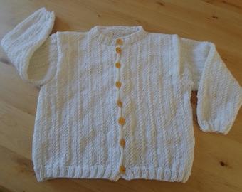 Ecru baby yarn for girls and boys jacket