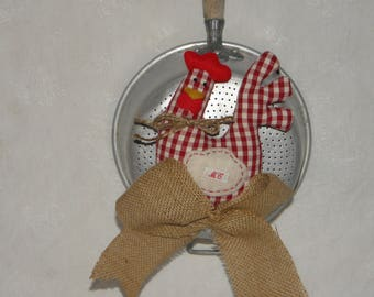 Mini decorative houndstooth cotton on his vintage ref.1358 colander