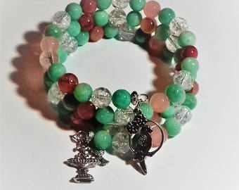 Memory bracelet stainless steel with African amazonite beads, pink jade and rock crystal