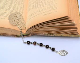 Bookmark made of stainless steel / silver plated protection /Pierre Tiger eye beads