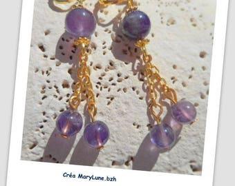 Clips for non-pierced purple earrings