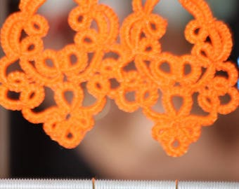 Large earrings lace tatting cotton orange tatted lace jewelry