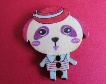 character 30mmx26mm various scrapbooking or sewing wooden button