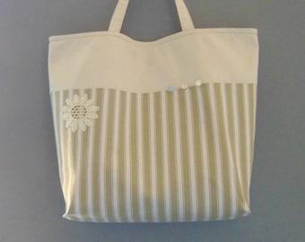Bag or tote bag linen old unique piece