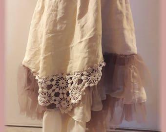petticoat shabyy 2 petticoats overlay ruffle tulle lace Bohemian cotton gauze