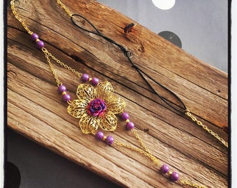 Head Band headband lace vintage gold / purple flower cabochon and beads