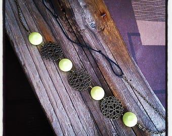 HeadBand jewelry head piece filigree bronze / green beads