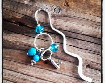 Bookmark silver charm turquoise beads