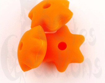 10 pearls flat star 10mm orange silicone pacifier, rattle etc.