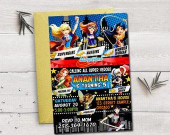 Dc Superhero girls birthday, dc superhero girls invitation, dc superhero girls birthday invitation, dc superhero girls party,