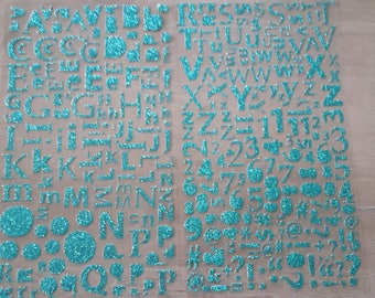Alphabet and numbers in glitter
