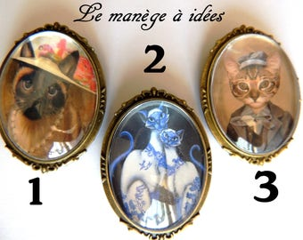 """""""CH ' love"""" metal bronze: price for one cabochon brooches."""