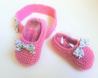 Little pink toes 6.9 months and matching headband accented with a liberty bow