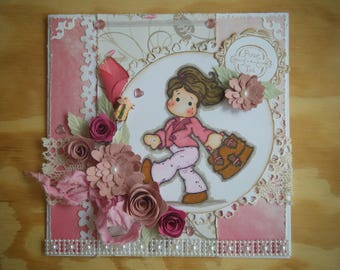 Kit and tutorial for card with a pink Magnolia character