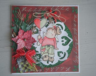 Way greeting card with a character Christmas ball