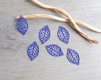 Set of 6 prints enamel filigree leaves dark blue