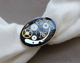 Ring oval large size Steampunk watch parts and resin