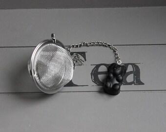 Tea Infuser tea, stainless steel, black resin bear candy ball