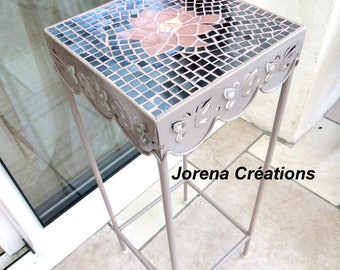 Metal stand and butterflies and lotus flower mosaic