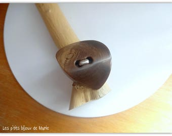 Shape Brown button ring silver and original