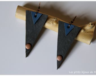 Triangle leather and inner tube recycled earrings