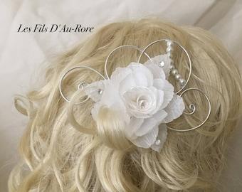 TIANA wedding white rose hair comb