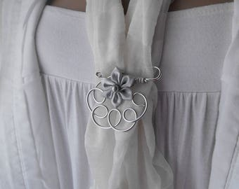 Grey satin flower brooch