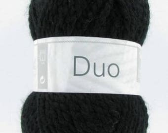 Chunky wool knitting DUO black No. 012 white horse
