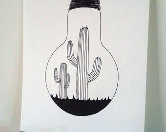 Poster Illustration black and white bulb