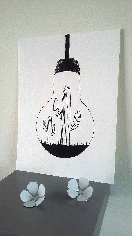affiche illustration noir et blanc ampoule. Black Bedroom Furniture Sets. Home Design Ideas