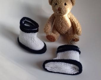 Navy and white slippers in soft wool