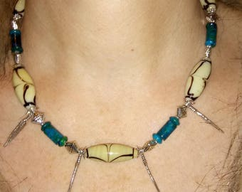 Ethnic necklace feathers and bead African
