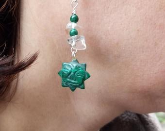 Malachite Mayan inspired Sun earrings