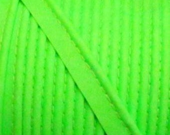 NEON green / plain cotton piping 10mm wide, cut 50 cm