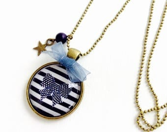 Bronze necklace - Cabochon blue and white striped bow