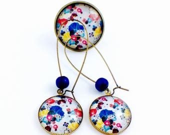 Set bronze - Cabochon - beautiful poppies (earrings + large ring)
