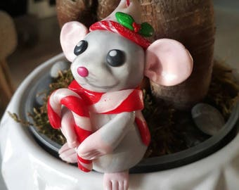 Mouse Christmas with his candy cane to hang on your Christmas tree or to mark up, Christmas decoration, Christmas tree, Christmas