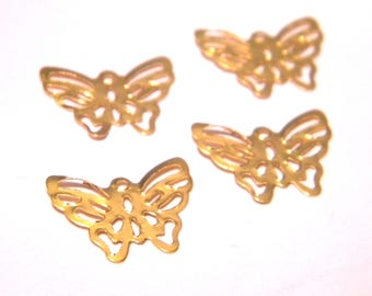 20 charm pendant connector - Butterfly-11 x 15 mm - metal filigree gold F8