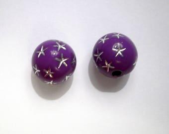 10 pearls shamballa 10 mm bright purple rhinestone star