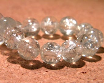 50 8 mm - clear - PF61 Crackle glass beads