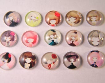 small Stud Earrings 10 glass print - little girl - domed - 10 mm CAB02