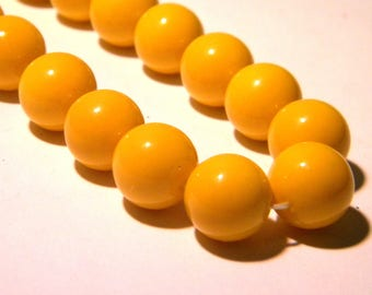 10 glass beads baked-12 mm - smooth and shiny - bright K58 3 golden yellow