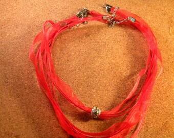 3 cord necklace clasp red waxed cotton organza silver adjustable 43-48 cm