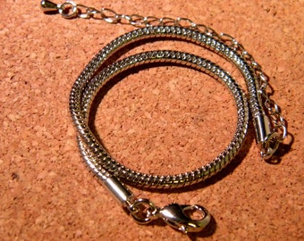 Bracelet 20.5 cm-black - style pandor @ mesh snake and chain - black metal Platinum - F208-4