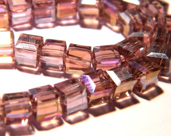 10 pearls 6 mm faceted glass electroplated - cube-purple iridescent PG128 5
