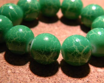 10 beads Crackle painted glass - 12 mm-Green-4 PF23