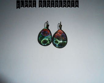 """""""Abstract graphic"""" graphic, cabochon drop earrings"""