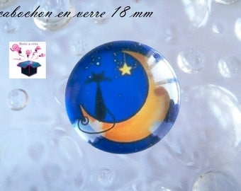 1 cabochon clear domed 18mm Moon cat theme