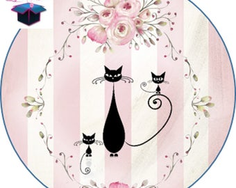 1 cabochon clear 25 mm cat theme